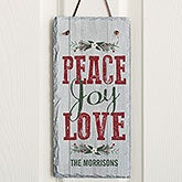 Peace Love Joy Personalized Slate Plaque - 18014