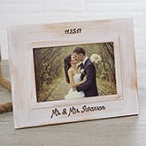 Engraved Whitewashed Wedding Picture Frame - 18024