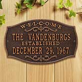 Personalized House Plaque – Welcome Design - 18032D