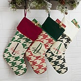 Houndstooth Personalized Christmas Stockings - 18084