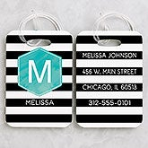 Personalized Luggage Tag Set - Modern Stripe - 18093