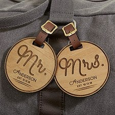 Personalized Luggage Tags - Wooden Circle of Love - 18118