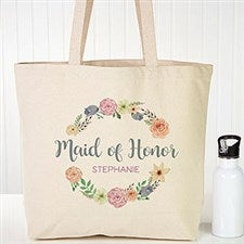 Personalized Bridal Tote Bags - Floral Wreath - 18121