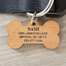 Personalized Wooden Pet ID Tag - 18133