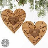 Personalized Family Ornament - 2-Sided Wooden Heart - 18143