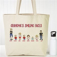 Personalized Canvas Tote Bag - Grandchildren Characters - 18147