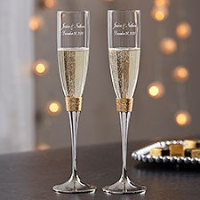 Engraved Wedding Champagne Flutes - Gold Hammered - 18167
