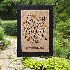 182d1175d1ec0 Happy Fall Y All Personalized Burlap Garden Flag - 18200