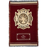 Personalized firefighter tribute afghan features maltese cross and personalization