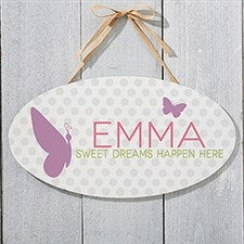 Personalized Oval Wood Signs - Baby Girl - 18252