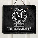 Personalized Slate Plaque - Monogram Circle & Vine - 18277