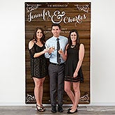 Rustic Wood Personalized Wedding Photo Backdrop - 18337