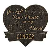 Personalized Pet Memorial Plaque - Paw Prints Heart - 18351D