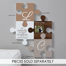 Personalized Puzzle Piece Wall Decor - Rustic Wood - 18367