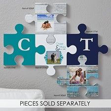 Personalized Photo Puzzle Piece Wall Decor  - Rustic Wood - 18369