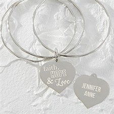 Personalized Charm Bracelet - Faith Hope Love - 18377