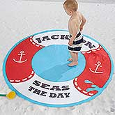 Personalized Round Beach Towel - Life Preserver - 18380