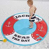 Personalized Round Beach Towel - Life Preserver - 18380