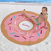 Personalized Round Beach Towel - Donut - 18382
