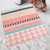 Personalized Beach Blanket - Bohemian Chic - 18385