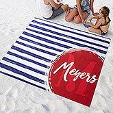 Personalized Beach Blanket - Monogrammed Stripes - 18386