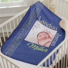 Personalized Sherpa Baby Photo Blanket For Baby Boy - 18400