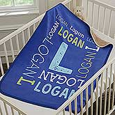 Personalized Sherpa Baby Blanket - Baby Name - 18402