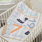 Personalized Baby Boy Blankets - Sherpa Fleece - 18406