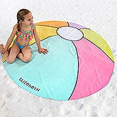 Personalized Round Beach Towel - Beach Ball - 18424