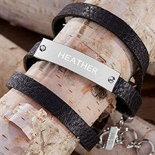 Engraved Black Leather Wrap Nameplate Bracelet - 18429