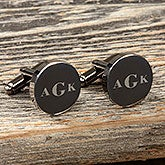 Engraved Cufflinks - Round Gunmetal - 18431