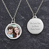 Engraved Photo Pendant Necklace For Grandma - 18434