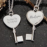 Key To My Heart Engraved Pendant Necklace - 18435