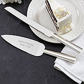 Engraved Wedding Cake Knife & Server - Modern Wedding - 18440