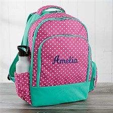 Embroidered Backpack - Pink Polka Dot - 18459 33300951ae4be