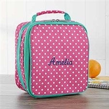 Embroidered Lunch Box - Pink Polka Dot  - 18460