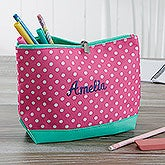 Personalized Pencil Case - Pink Polka Dot  - 18461