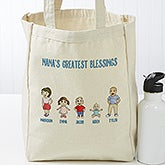 Personalized Canvas Tote - Grandchildren Characters - 18541