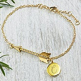 Personalized Arrow Charm Bracelet - Gold Plated - 18559