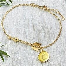 Personalized Arrow Charm Bracelet - Gold Plated - 18559