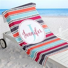 Personalized Beach Towels - Pattern & Stripes - 18570