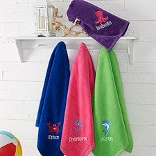 Embroidered Beach Towels for Kids - Sea Creatures - 18573