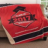 Personalized Sherpa Blanket Graduation Gift - 18578