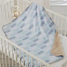 Baby Boy Name Personalized Sherpa Blanket - 18582