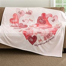 Personalized Family Blanket - Our Hearts Combined - 18605