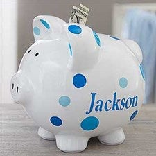 Personalized Piggy Bank For Boy - Blue Polka Dot - 18609