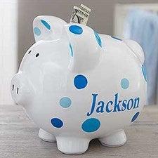 Personalized Piggy Bank For Boy - Blue Polka Dot - 18609