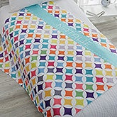 Personalized Fleece Blanket - Geometric Pattern - 18613