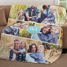 Photo Collage Sherpa Blanket with Monogram - 18618