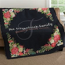 Personalized Throw - Posh Floral Woven Throw - 18624
